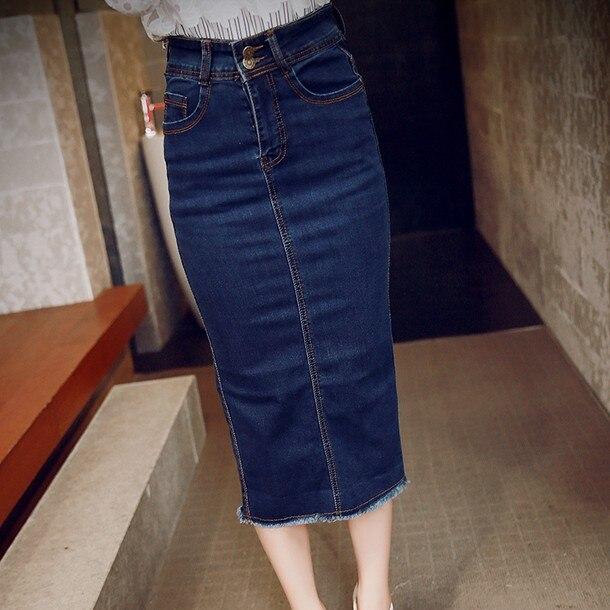 a62c765073 Korea 2016 high waist hip slim woman long jean denim skirt midi straight  tight female bodycon pencil skirt blue summer spring