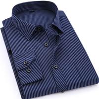 Plus Large Size 8XL 7XL 6XL 5XL 4XL Mens Business Casual Long Sleeved Shirt Classic Striped