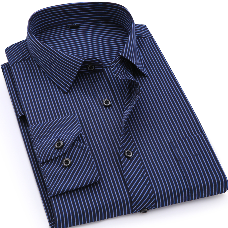 Plus Large Size 8XL 7XL 6XL 5XL 4XL Herrer Business Casual Langærmet T-Shirt Classic Striped Mandlig Social Dress Shirts Shirts Purple Blue