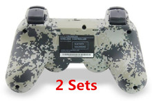 2 set Camouflage Double Vibration Choc 6 Axes SIXAXIS Bluetooth Wireless Controller pour SONY PS3 Dualshock 3 contrôleurs Gamepads