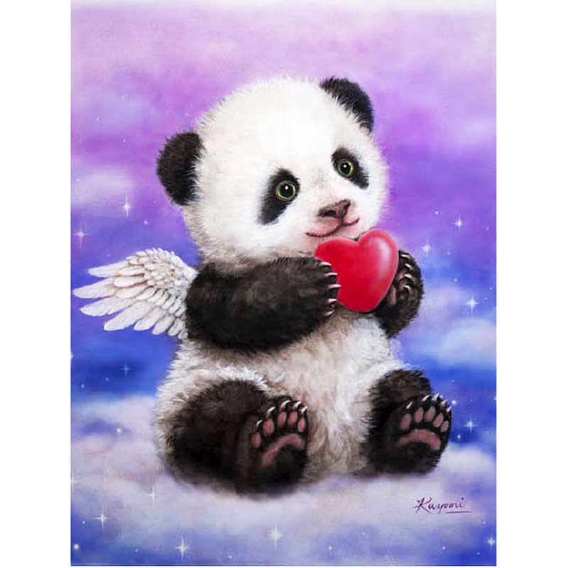 H411 diamond painting panda angel,rhinestone painting,square,full,diy,5d embroidery,diamond embroidery panda