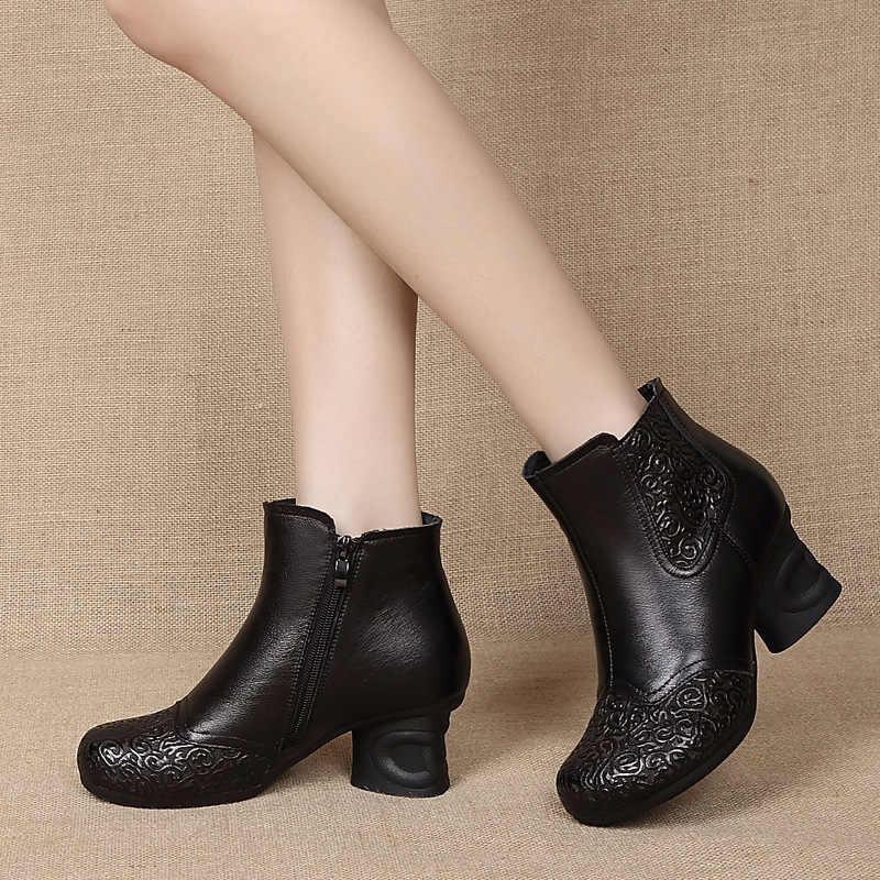 GKTINOO ฤดูใบไม้ร่วงฤดูหนาวใหม่ VINTAGE ของแท้หนังผู้หญิงรองเท้าผู้หญิงซิปรองเท้าส้นสูงข้อเท้าผู้หญิง Booties