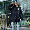 2016 Осень Женщин Траншеи Пальто Сбор Маркировки Военный Наряд Пальто Армия Зеленый Черный 5988