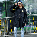 2016 Autumn Women Trench Coat Collect Labeling Military Outfit Coats Army Green Black 5988
