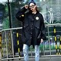 2016 Outono Mulheres Trench Coat Coletar Rotulagem Equipamento Militar Casacos Exército Verde Preto 5988