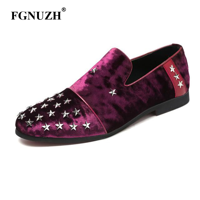 FGNUZH Star Rivet Men Flats Casual Shoes Brand Men Shoes Men Loafers Velvet Shoes wedding plus size factroy wholesale ST387(China)