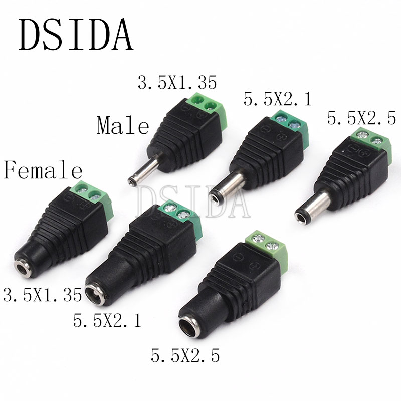 100pcs DC Power Jack 5.5 x 2.1mm Female To 3.5 x 1.35mm Male Plug Cable adapter