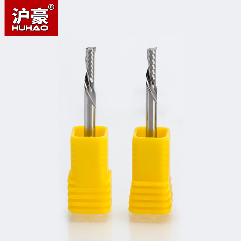 HUHAO 2pcs/lot Shank 3.175mm Left Spiral Milling Cutter 1 Flute Router Bit Carbide CNC End Mill Tool Accessories high grade carbide alloy 1 2 shank 2 1 4 dia bottom cleaning router bit woodworking milling cutter for mdf wood 55mm mayitr