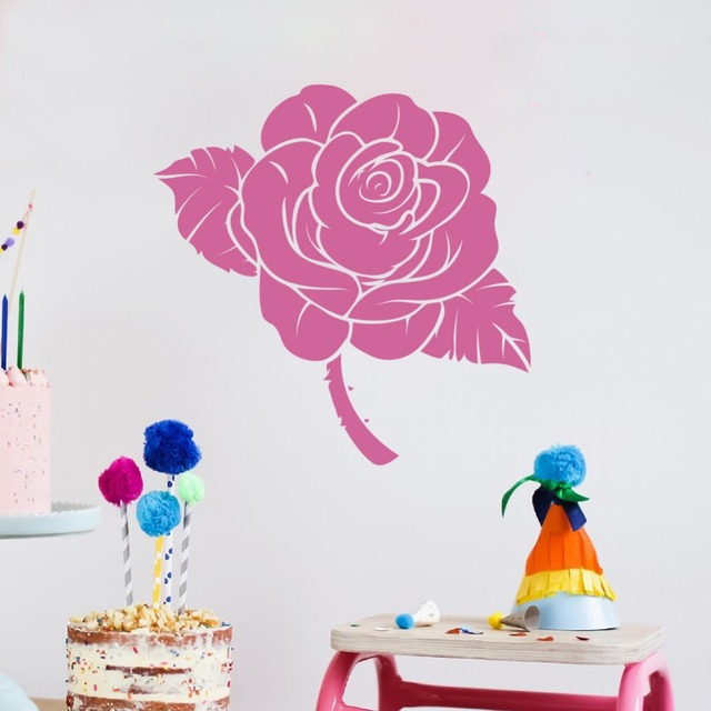 Large Size Vinyl Self selected Color Roses Flower Wall Sticker ...