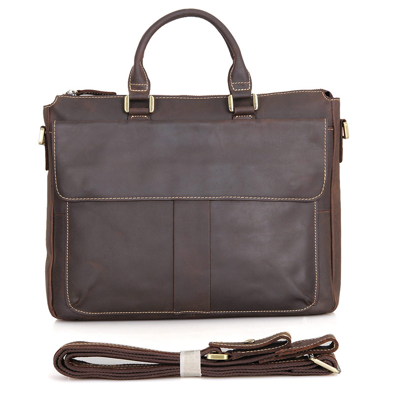 Full Grain Leather Handbag Crazy Horse Leather Laptop Bag For Business Men 7113R-2 silver spoon silver spoon школьная юбка в складку синяя