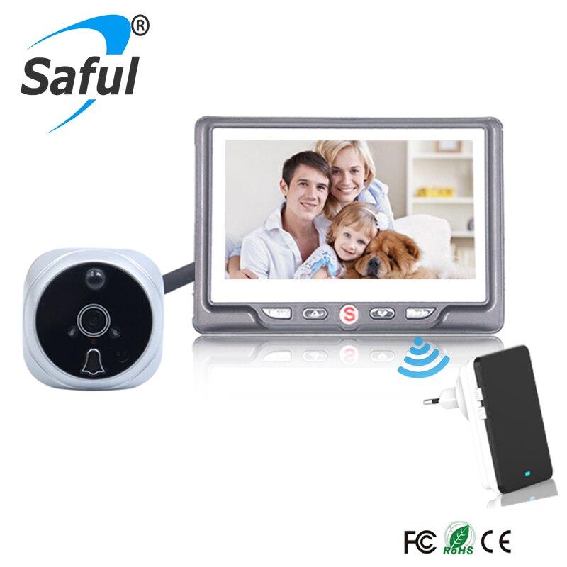 Saful 4,3 Pantalla de Color LCD mirilla Cámara timbre puerta visor multifunción detección de movimiento puerta Cámara Monitor para hogar inteligente