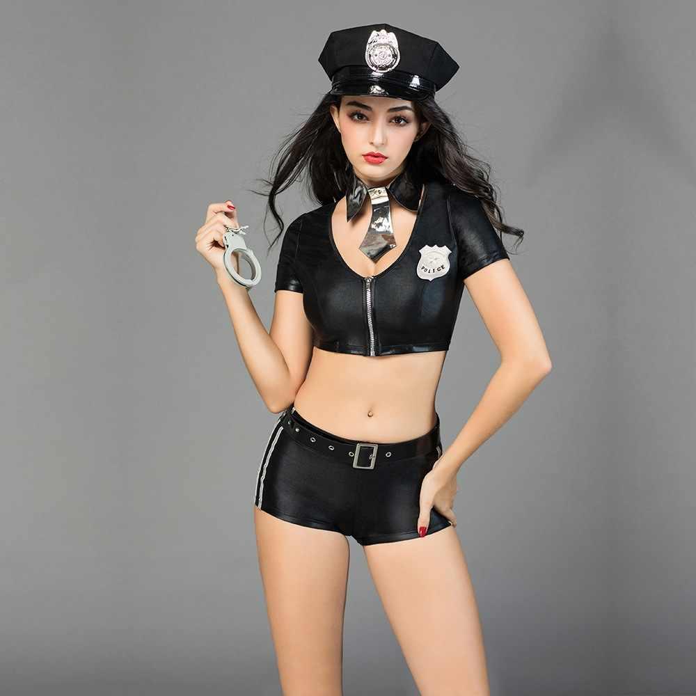 2019 Новый Полицейские Костюм с наручники ремень бандана женский Клубная одежда Необычные игры Cop Косплэй вечерние офицер униформы одежда