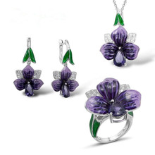 100% 925 Sterling Silver Enamel Jewelry Sets Women Customized and Shiny Zircon for