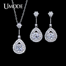 UMODE Bridal Wedding Jewelry Set Including 1 Pair Fashion Drop Earrings Pendant Necklace For Women With