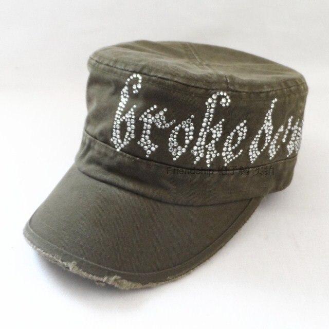 Brokedown rhinestone cadet cap women s retro finishing distrressed military  hat white green 0db9b4821c