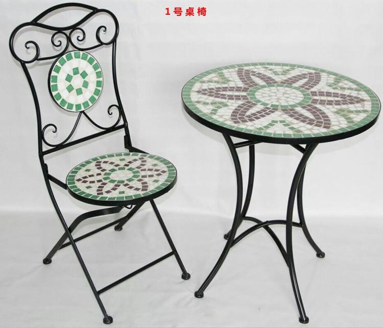 Tavoli e sedie per esterni mobili da giardino in ferro battuto mosaico combinazione tavolino - Mobili da giardino in ferro ...