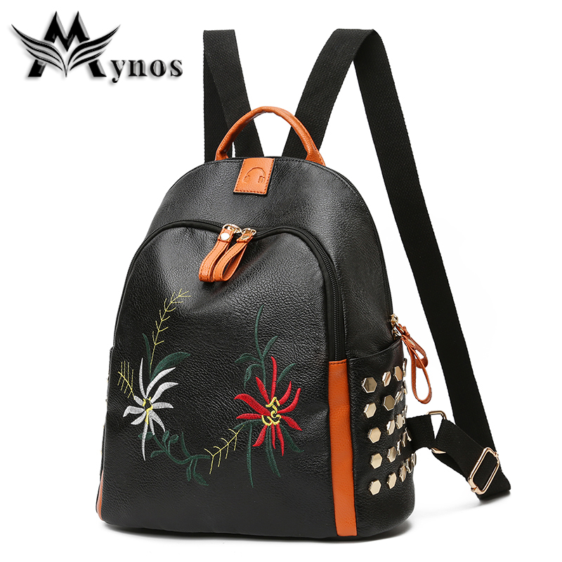 Mynos New Quality Leather Women Backpack Vintage Embroidery Rivet Girl School Bags Party Travel Backpacks For Teenage Sac A Dos