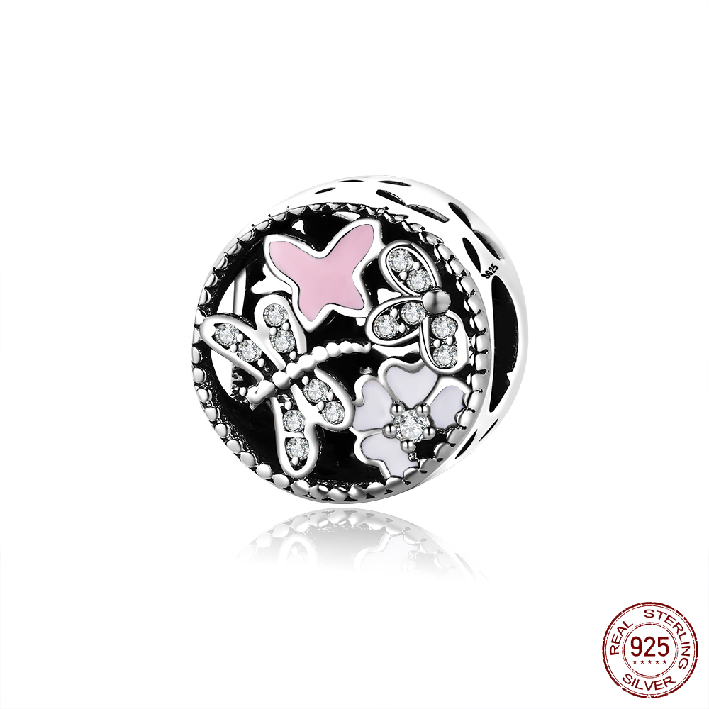 Authentic 925 Sterling Silver Charm Flower Dragonfly Glaze Crystal Beads For Original Pandora Charm Bracelets & Bangles Jewelry