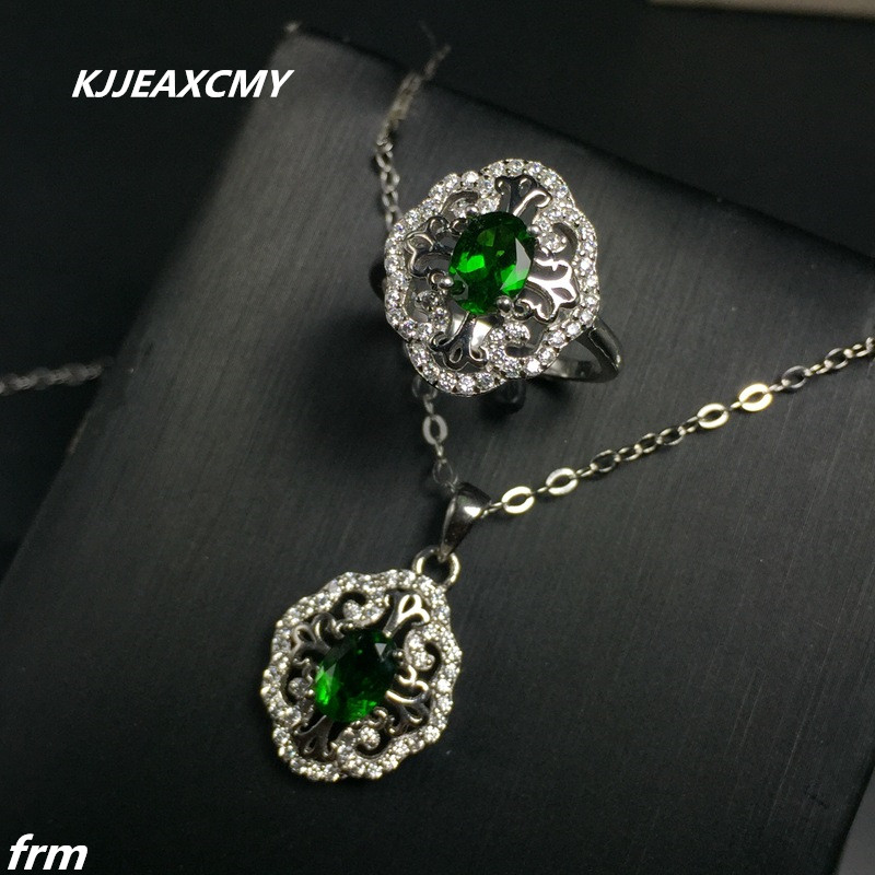 KJJEAXCMY Fine jewelry Inlay 925 sterling silver female pendant pendant necklace ring setKJJEAXCMY Fine jewelry Inlay 925 sterling silver female pendant pendant necklace ring set
