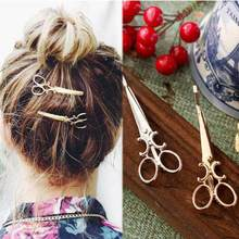 2018 Gold silver Scissors HairPins Shears Clip For Hair Tiara Barrettes Headdress Vintage Simple Head Jewelry best Friends gift(China)