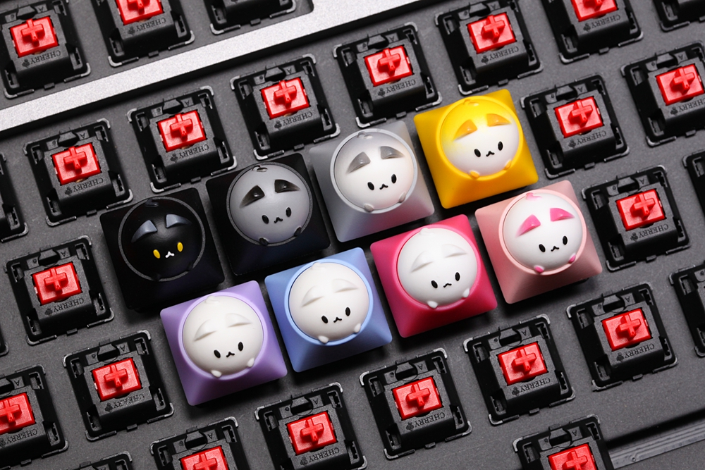 Image 2 - HAMMER BUBBLE CAT ARTISAN KEYCAP Compatible with Cherry MX Topre HHKB switches and clones black yellow green blue red pinkKeyboards   - AliExpress