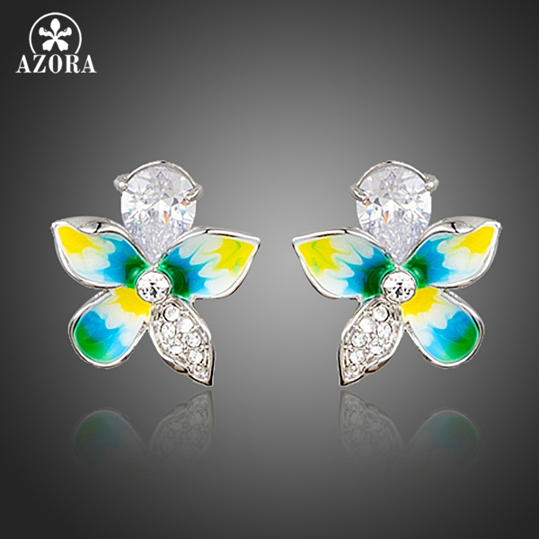AZORA Charming Attractive Flower Top grade Cubic Zirconia Oil Painting Pattern Stud Earrings for Women TE0249 usb printer adapter type a female type b male black silver tone