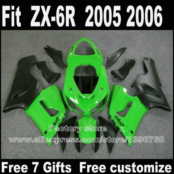 Body kits for Kawasaki ZX6R fairing kits 2005 2006 green black plastic bodywork set 05 06 Ninja 636 fairings M119