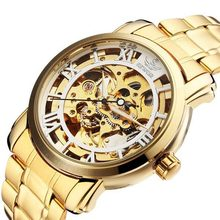 Sewor Gold Black Mechanical Roman Stainless Steel Men Wrist Watch