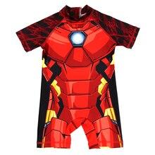 Boys Swimwear kids One Piece Swimsuit Iron Man Cartoon Zipper Rash Guard Child Bathing Suit Baby Surfing UPF 50+ Sport Beachwear