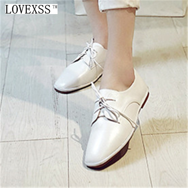 LOVEXSS Oxford Shoes 2017 Spring Autumn Toe Lace-Up White Woman Flats Genuine Leather Derby Shoes Women Big Size 33 - 42 Oxfords qmn women crystal embellished natural suede brogue shoes women square toe platform oxfords shoes woman genuine leather flats