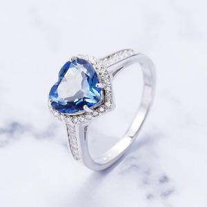 Image 3 - GEMS בלט 925 סטרלינג כסף לב צורת 2.47Ct הטבעי Iolite כחול מיסטיק קוורץ חן טבעות לתכשיטי נשים