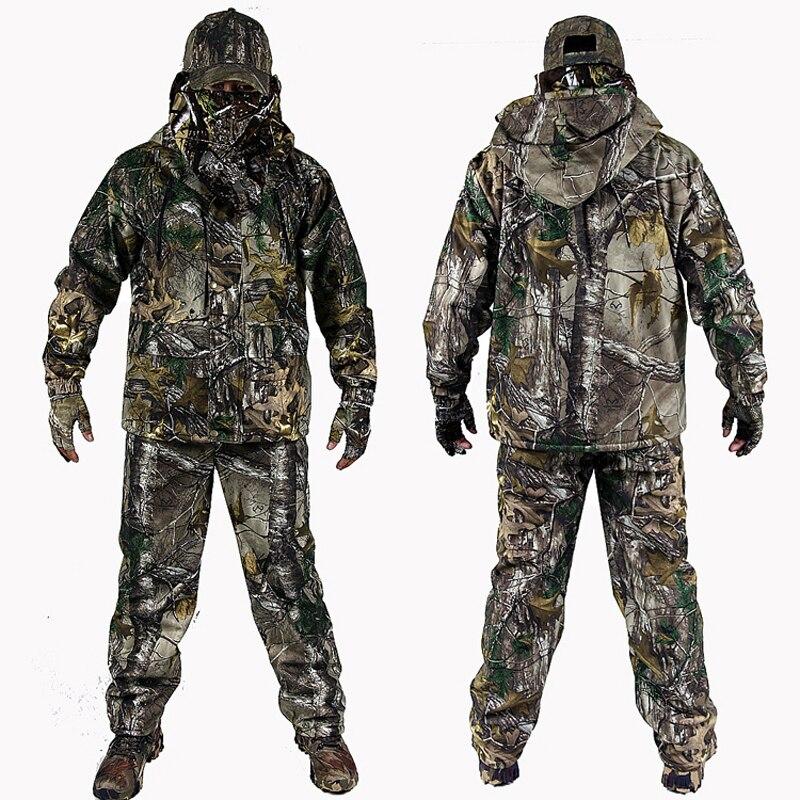 Degli uomini di Outdoor Bionic Camuffamento di Inverno Vestiti Abbigliamento per la Caccia Inverno Caccia Suits con Pile Ghillie Suit