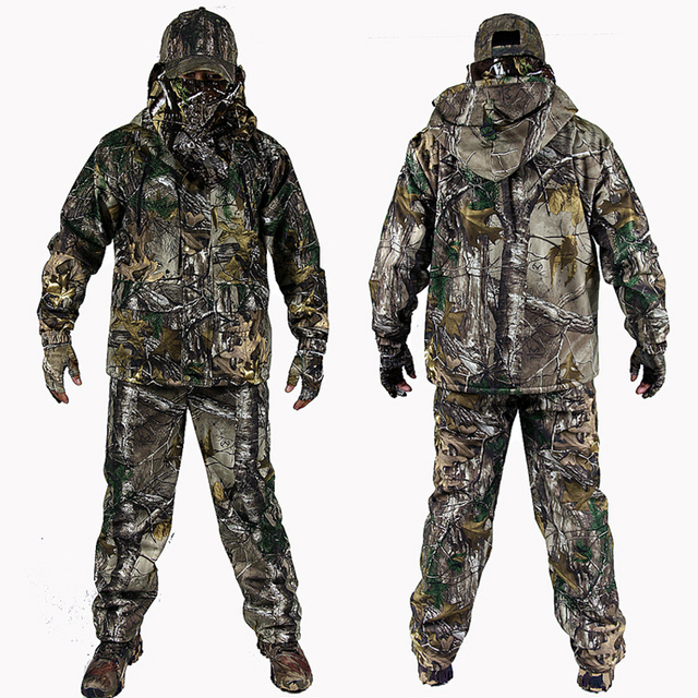 9fae5f60e5af4 Men's Bionic Camouflage Hunting Clothing Winter Hunting Suits with Fleece  Hunting Ghillie Suit 4pcs/set Jacket+Pants+Gloves+hat