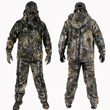 Mens Outdoor Bionic Winter Camouflage Clothes Hunting Clothing Suits with Fleece Ghillie Suit