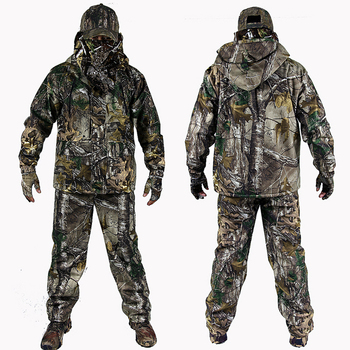 Men's Outdoor Bionic Winter Camouflage Clothes Hunting Clothing Winter Hunting Suits with Fleece Ghillie Suit breathable jungle bionic camo clothes wild hunting suits for hunter oem factory
