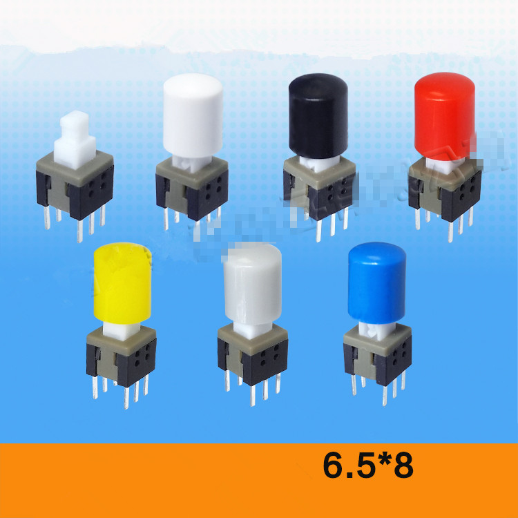 6 Pin DIP Panel PCB Push Button Tactile Tact Switch Self Lock /Unlock 5.8 x 5.8mm with caps