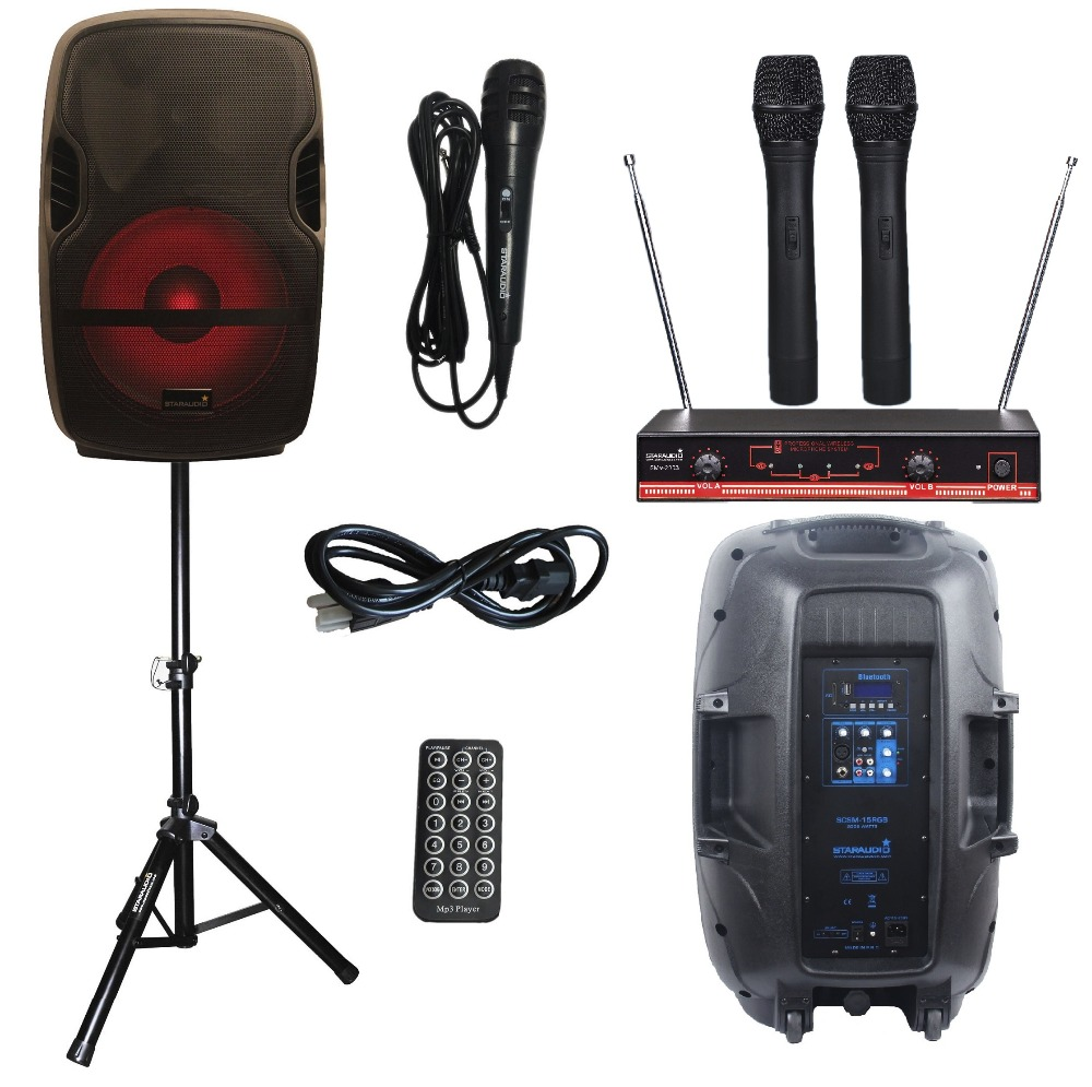 STARAUDIO Pro 15 2000W PA DJ Stage Powered Active BT USB SD Speaker W/ Light Stand VHF Handheld Mics SCSM-15RGB