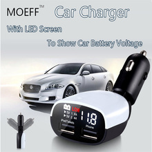 Universal 5v Quick car charging  Dual Usb Car Charger Fast Adapter LED Screen Low Voltage Indication For samsung galaxy iphone 6