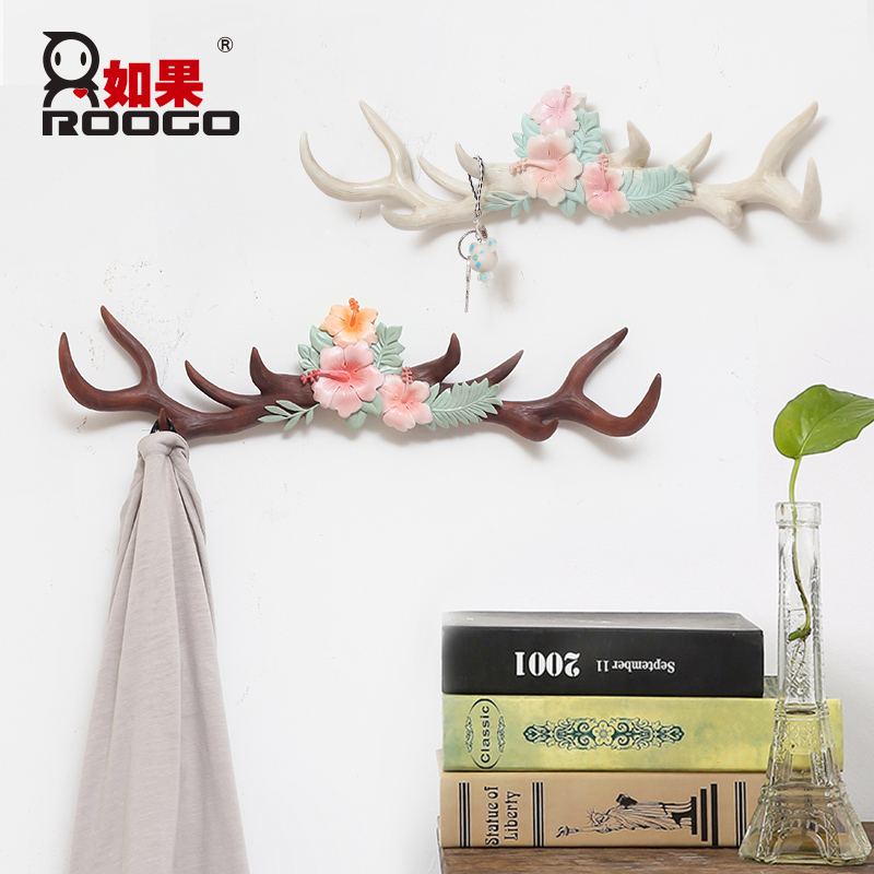 ROOGO home decoration stronger resin Antler hooks for hanging wall hanger key bag holder Multi purpose home organization modern in Hooks Rails from Home Garden