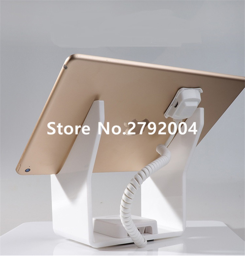 Tablet security alarm Ipad display stand andriod anti theft holder charging apple mount devices for retail phone shop sales wholesale price mobile phone anti theft alarm display stand with charging for exhibition