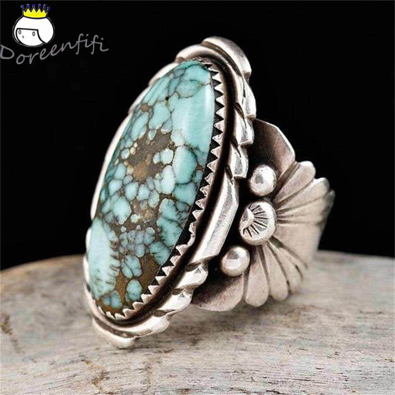 Antique Jewelry 925 Sterling Silver Blue Natural Stone Bride Wedding Engagement Vintage Men Ring Gift Aneis Feminino Bijoux