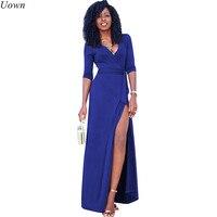 d8892c8b0e ... kostki długość długie sukienki jesień. Uown Fashion Women Black Maxi  Dress With Sleeves Sexy Elegant V Neck Side Split Evening Party