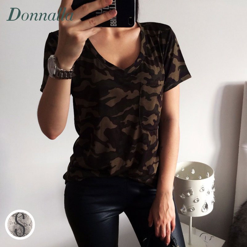 Military T shirt Women Top T Shirts Summer Top Short Sleeve Casual Tee For Women Fashion Street Green V neck Brife T Shirts 2016