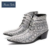 Christia Bella Winter Snake Skin Men Shoes Genuine Leather Boots Fashion Pointed Toe Boots Large Size Ankle Lace up Boots