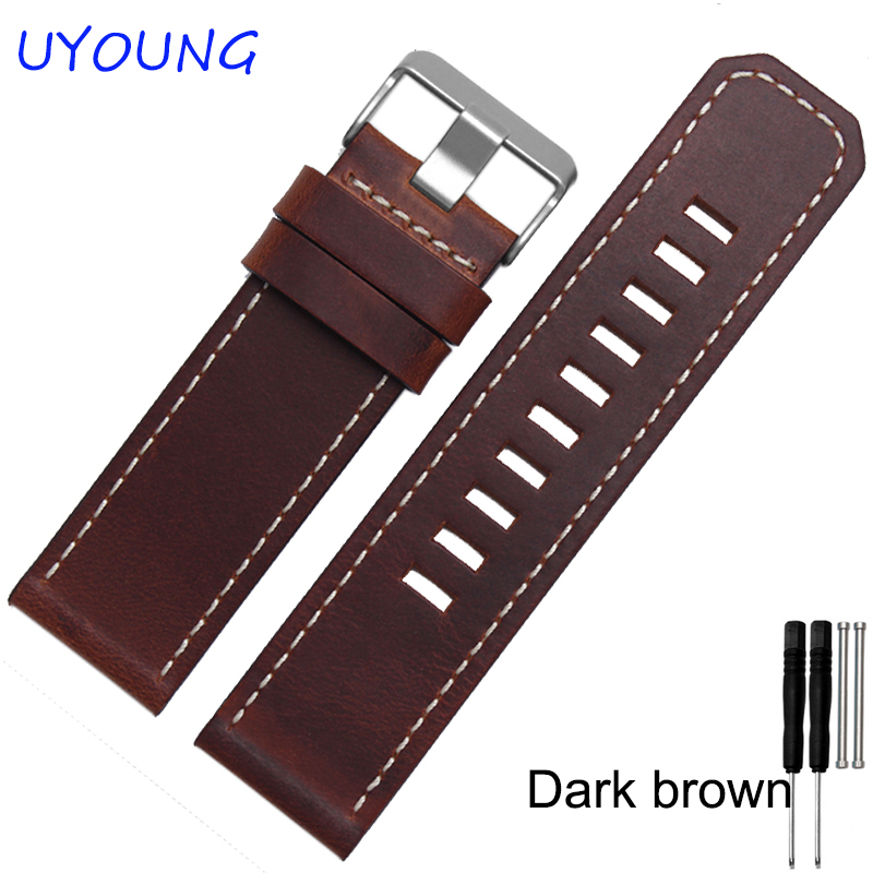 For Garmin Fenix 3 Quality Genuine Leather Watch band Mens Brown Thickening Leather Strap For Garmin jansin 22mm watchband for garmin fenix 5 easy fit silicone replacement band sports silicone wristband for forerunner 935 gps