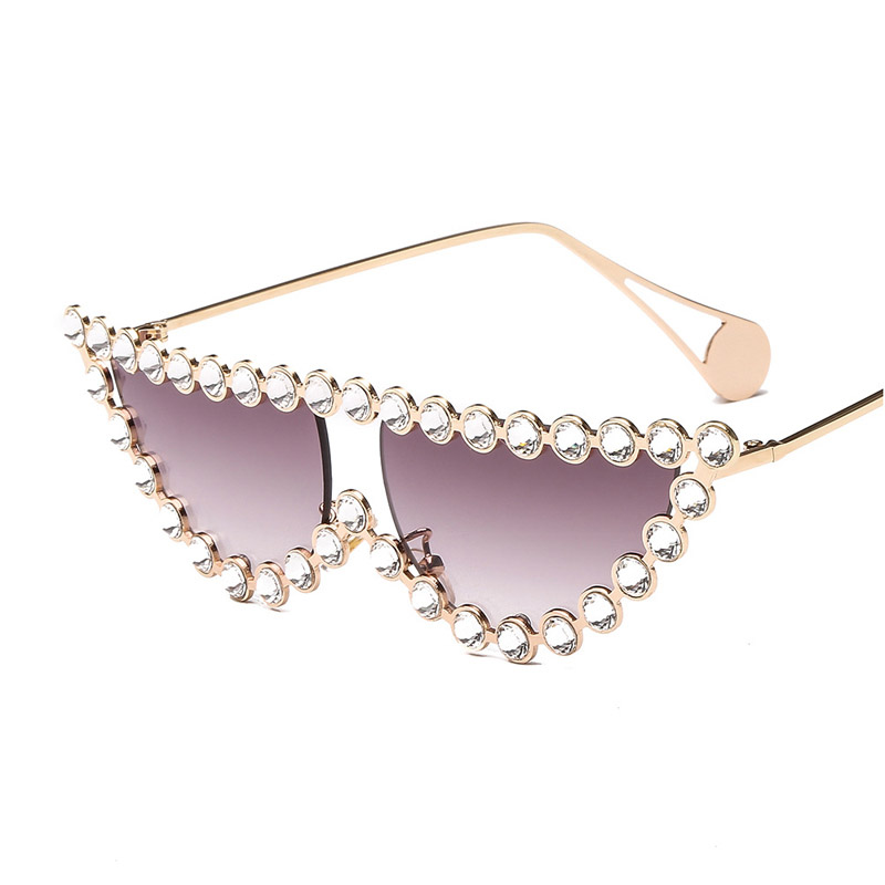 Fashion Diamond Frame Cat Eye Sunglasses Women Luxury Brand Vintage Triangle Shades Rhinestone Sunglasses For Female Metal UV400