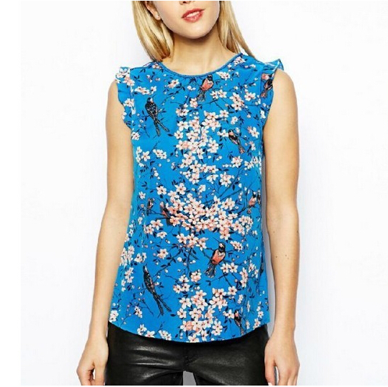 ST1558 New Fashion Ladies  elegant floral print blue ruffles blouses O neck  sleeveless Shirt casual. Popular Designer Casual Tops Buy Cheap Designer Casual Tops lots