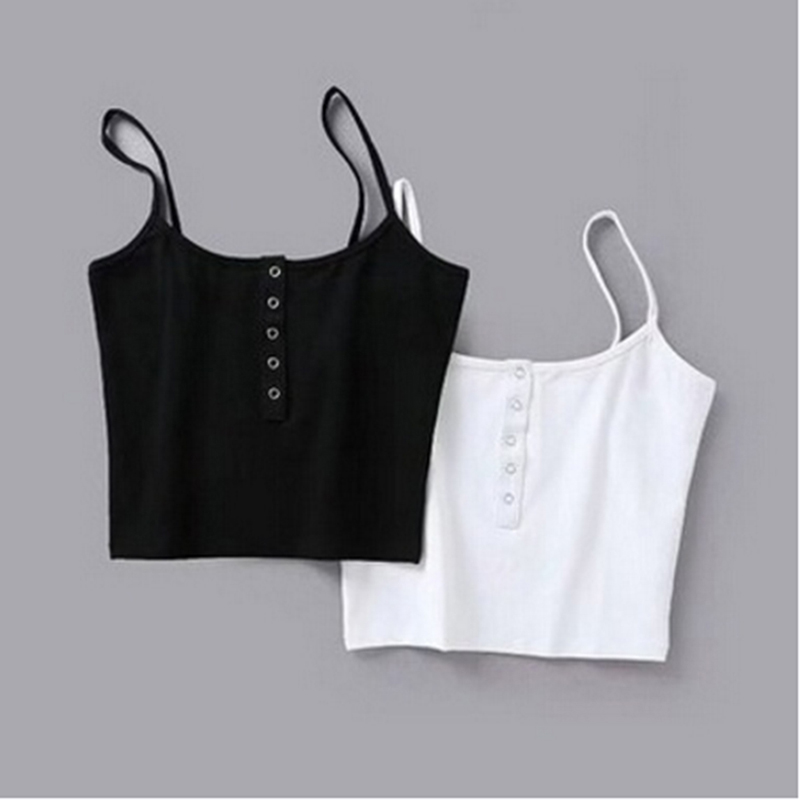 Summer 2020 Women Strap Crop Top Women Sexy Backless Leakage Navel Solid Camisole Sexy Tank Top Tube Top Breathable Crop tops(China)