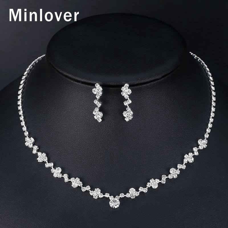 Minlover Earrings-Set Necklace Silver-Color Choker Crystal Women Flower Simple Wedding