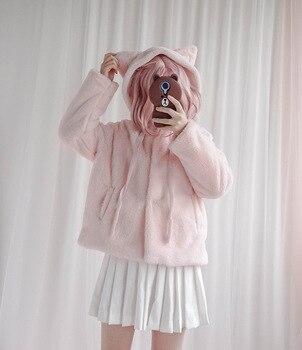 SO CUTE Winter Girl Furry Lolita Coat Fleece Hooded Cat Ears Hairy Cute Lolita Short Jacket loli warm coat sweet lolita Outwear girl